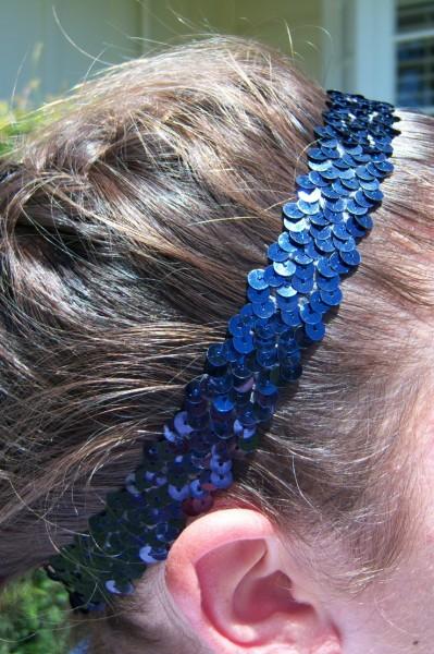 Navy Blue Sequin Headband