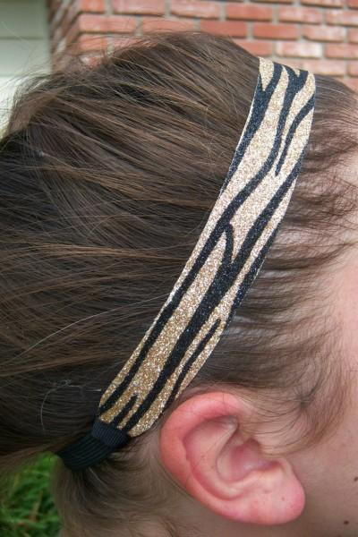 Limited Zebra Gold/ Black Glitter Headband