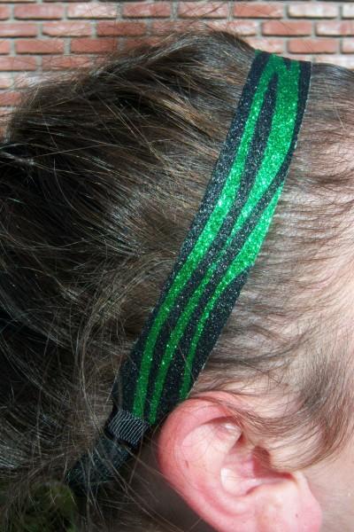Limited Zebra Green/ Black Glitter Headband