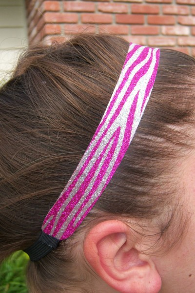 Hot Pink- Silver Zebra Headband