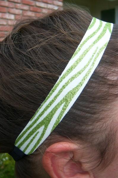 Limited Zebra Lime/ White Glitter Headband