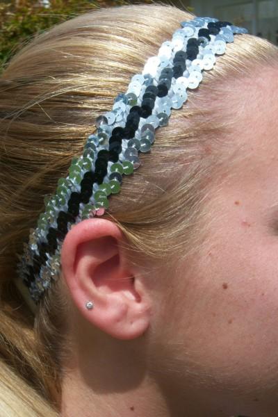 Silver/ Black Sequin Headband