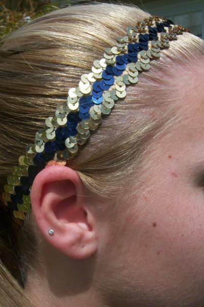 Gold/ Navy Sequin Headband