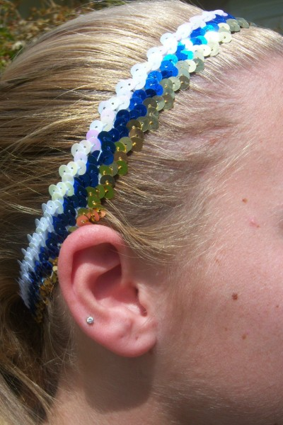 Gold/ Royal/ White Sequin Headband