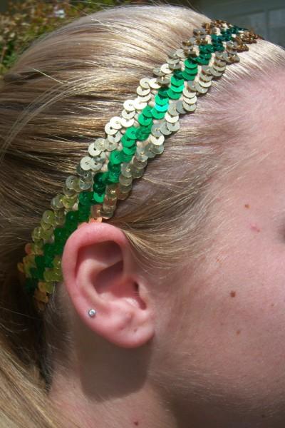 Green/ Gold Sequin Headbands