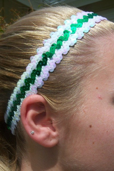 White/ Green Sequin Headband