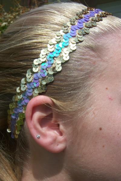 Gold/ Lavender Sequin Headband