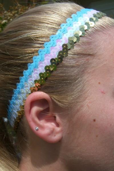 Light Blue/ White/ Gold Sequin Headband
