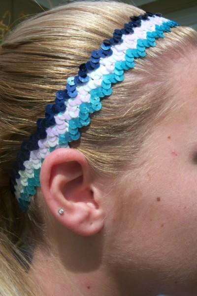 Lt. Blue/ White/ Navy Sequin Headband