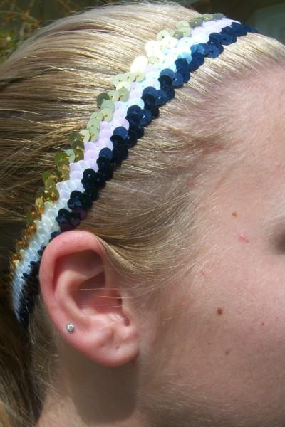 Navy/ White/ Gold Sequin Headband