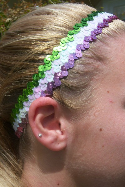 Pink/ White/ Lime Sequin Headband