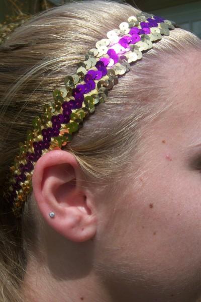 Gold/ Purple Sequin Headband