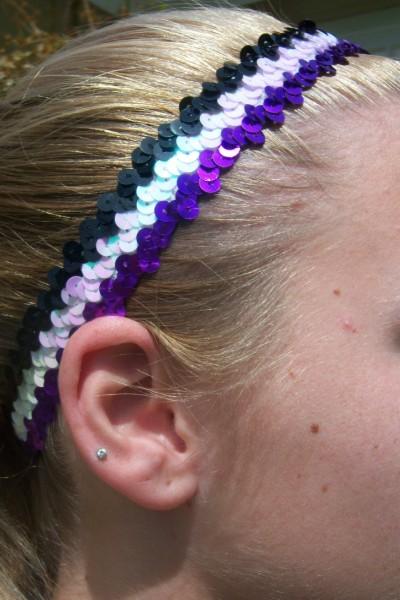 Purple/ White/ Black Sequin Headband