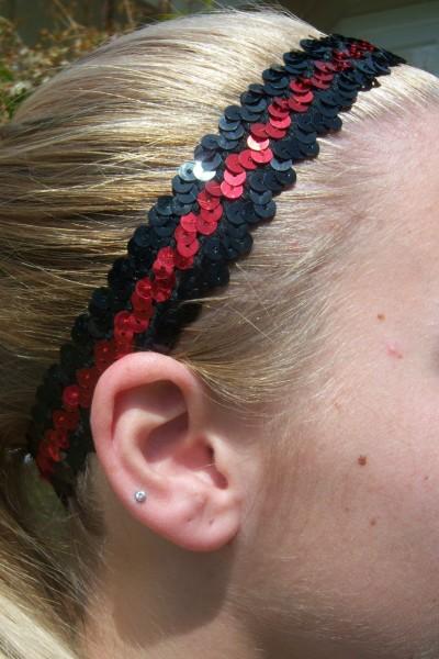 Black/ Red Sequin Headband