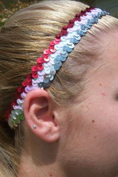 Red/ White/ Silver Sequin Headband