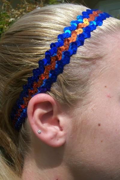 Royal/ Orange Sequin Headband