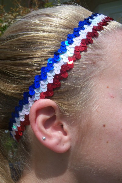 Red/ White/ Royal Sequin Headband