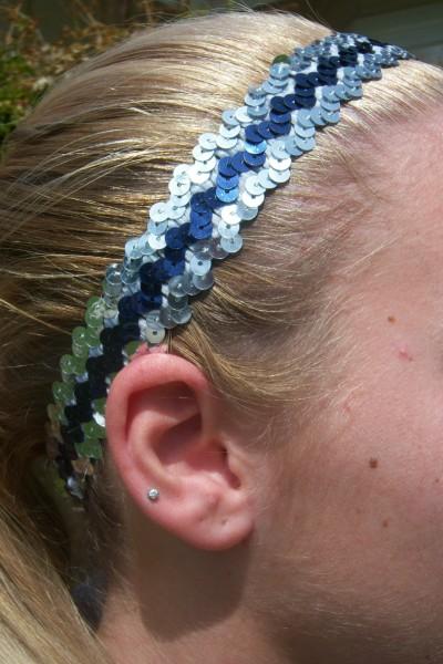 Silver/ Navy Sequin Headband