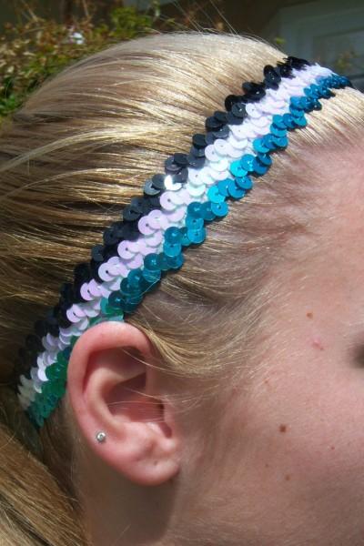Teal/ White/ Black Sequin Headband