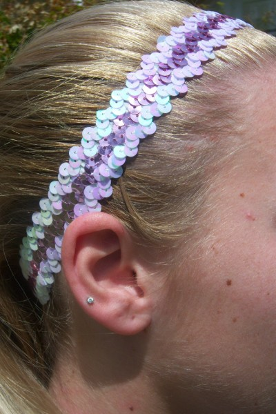 White/ Pink Sequin Headband