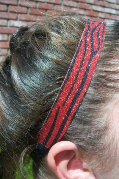 Limited Zebra Red/ Black Glitter Headband