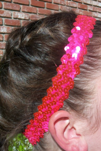 Florescent Hot Pink Sequin Headband