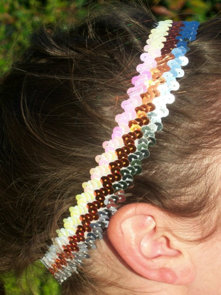 Orange/ Silver/ White Sequin Headband
