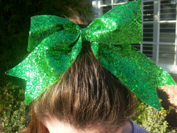 Custom Green Glitter Bow