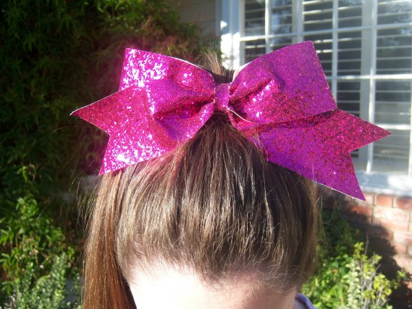 Custom Hot Pink Glitter Bow