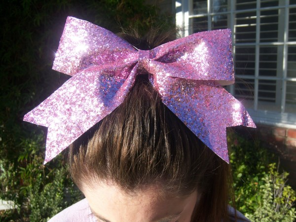 Custom Light Pink Glitter Bow