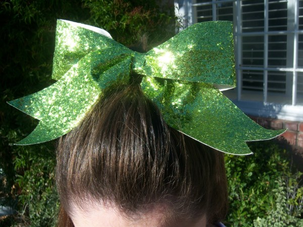 Custom Lime Glitter Bow