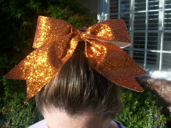 Custom Orange Glitter Bow
