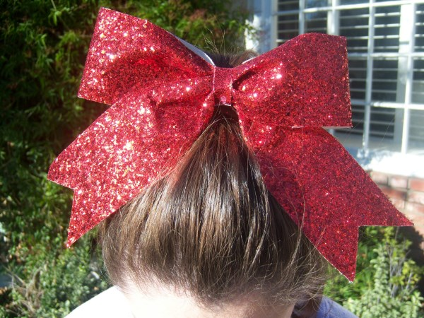Custom Red Glitter Bow