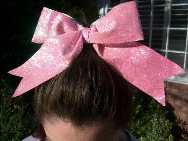 Custom Shimmering Pink Glitter Bow