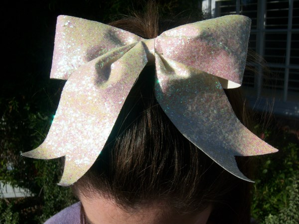 Custom White Glitter Bow