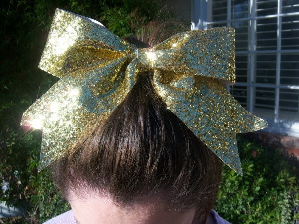 Custom Yellow Glitter Bow