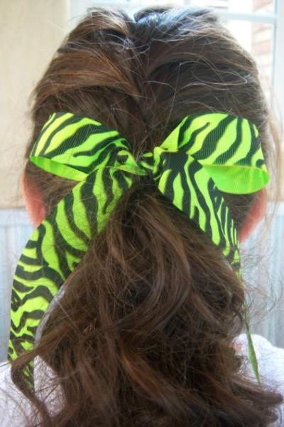 Florescent Lime Zebra Ribbon