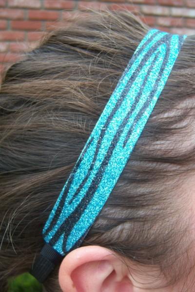 Limited Zebra Teal/Black Glitter Headband